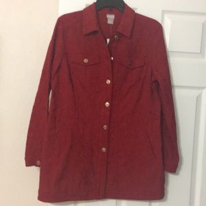 Chico's red tunic length jean jacket